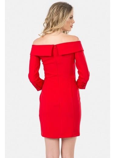 İroni Geniş Yakalı Blazer Elbise Kırmızı